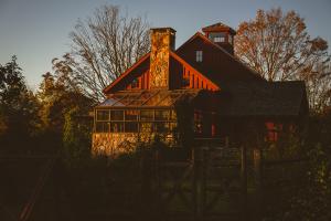 The restored, historic barn